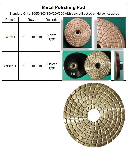 Metal Polishing Pad  made of genuine metal like grinding cup wheels, and specially designed for aggressive polishing & grinding at early working stages. Aggressive polishing to shape and start the polishing process and extend the life of the lower grit pads. Then seamlessly switch over to the standard pads at 400 and finish the polishing process. Feautring of longevity and aggressive working performance. Ideal for spot grinding on stones as well as concrete.