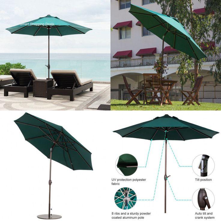 Patio Umbrella Market Outdoor Table Umbrellas with Auto Tilt/Crank Dark Green 9' #AbbaPatio #MarketUmbrella
