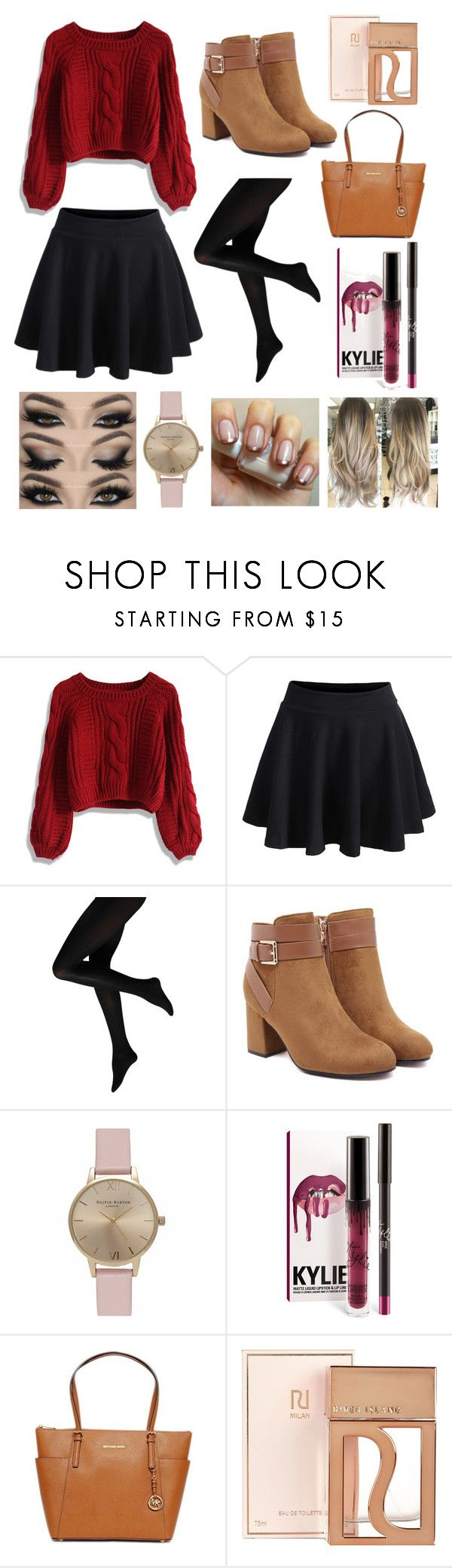 """""""Cute Winter or Fall outfit for cold days"""" by mikaela-greene ❤ liked on Polyvore featuring Chicwish, WithChic, Olivia Burton, Michael Kors and River Island"""