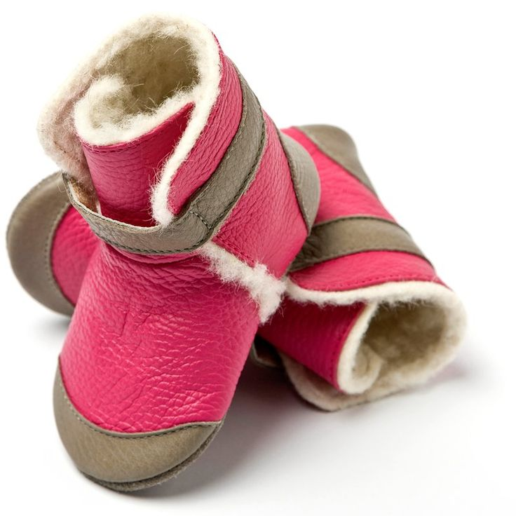 Liliputi® soft soled booties - Alps Fuchsia-Grey #softleatherbabyboots #babyboots #winter