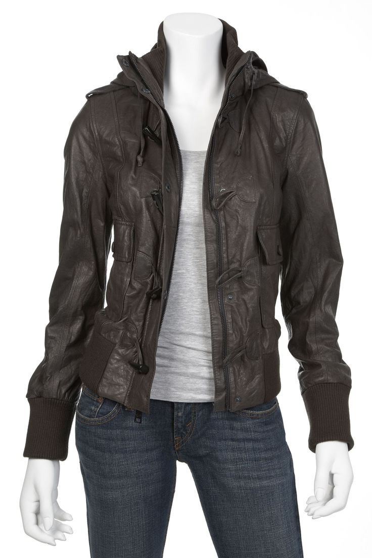 The gallery for --> Girls Leather Jacket With Hoodie