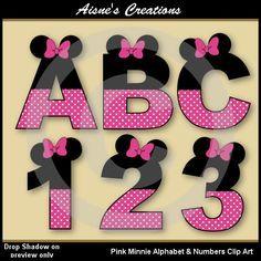 Cifras y letras del alfabeto Minnie rosa Clip por AisnesCreations
