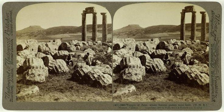 Temple of Zeus, whwre famous games where held, Nemea, Greece Ο ναός του Δία στην Νεμέα. Νεμέα, 1907 Underwood & Underwood