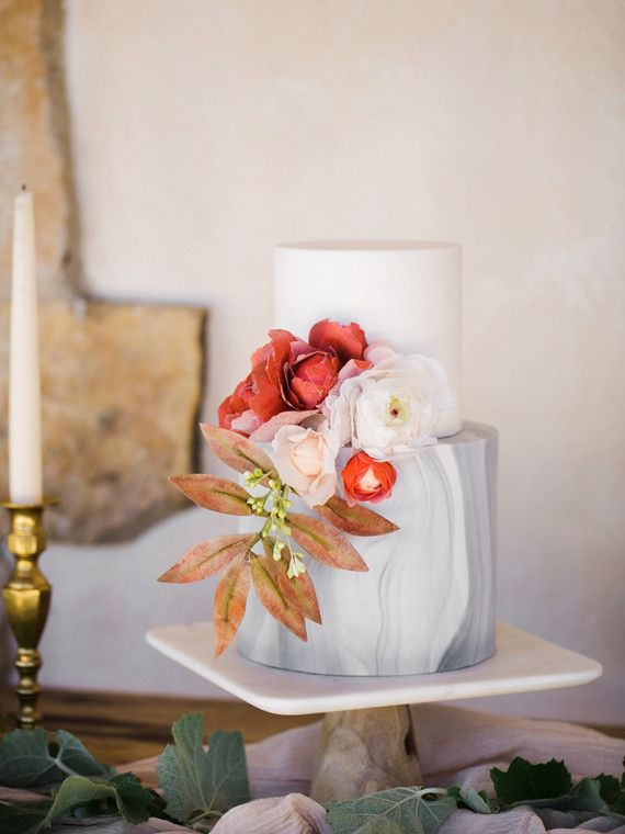 Italian marble inspired wedding cake by Hey There Cupcake.