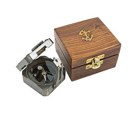 Brújula Brunton cuadrada con caja de madera