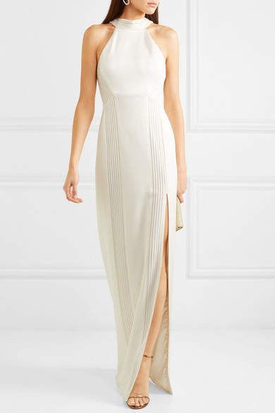 f09e3a659ef Galvan - Palm Beach Ribbed Jersey Halterneck Gown - White #Beach#Ribbed# Galvan