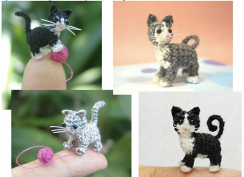 Free micro kitty crochet pattern plus links to four additional free patterns for crochet cats