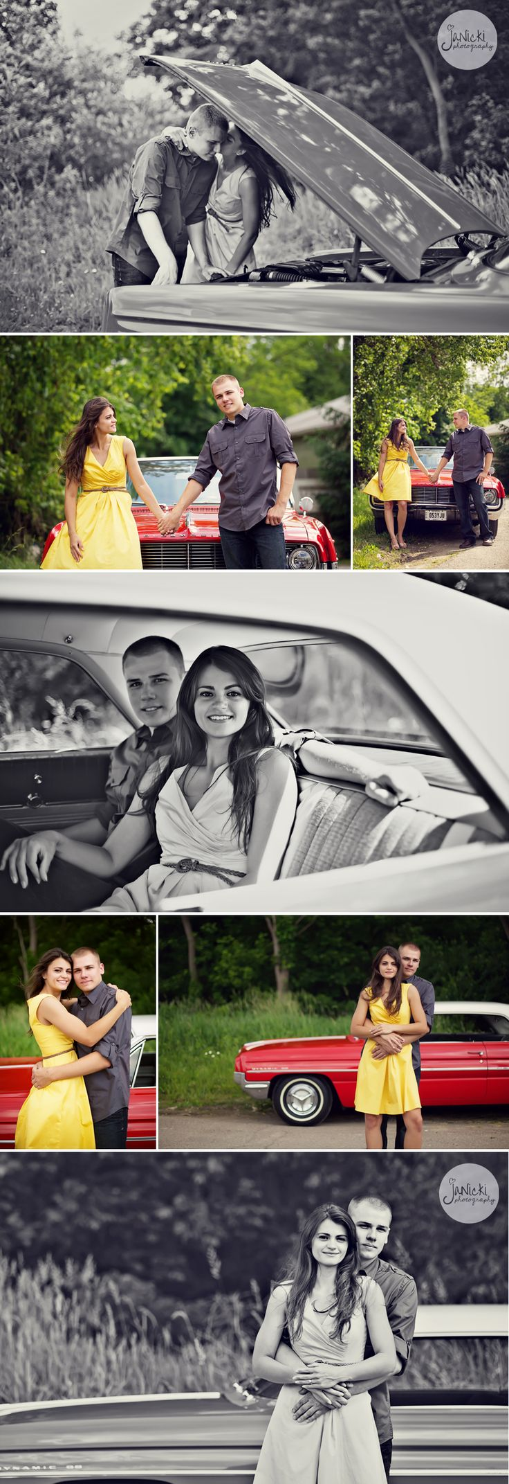 vintage car picnic engagement session. Wish I could do with with my grandpa's '55 Chevy Bel Air