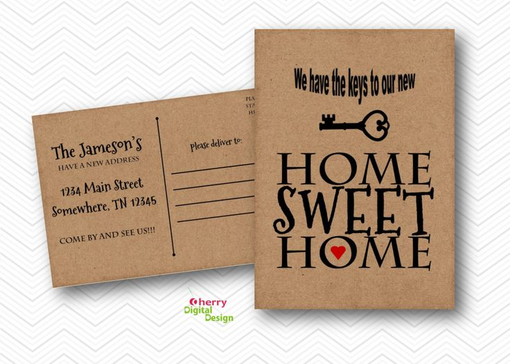 Home Sweet Home Kraft Rustic Moving Announcement Post card. Skeleton Key New home postcard. Address change postcard. moving announcement PdF by CherryDigitalDesign on Etsy https://www.etsy.com/listing/249977567/home-sweet-home-kraft-rustic-moving