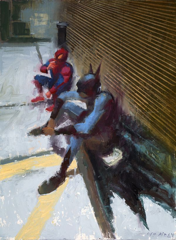 Three-way mash-up: Superheroes, superheroes being normal people, and expressionism. By William Wray.