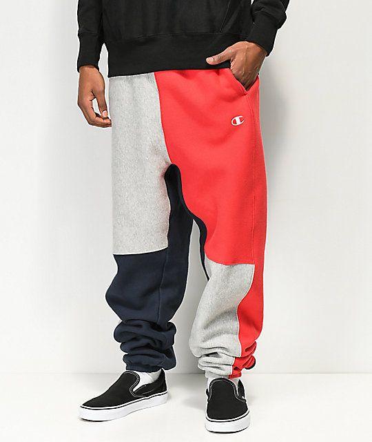 e2880790 Champion Reverse Weave Colorblock Navy Sweatpants in 2019 | Pants ...
