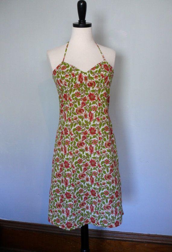 1990s Dress // Floral Cotton Sundress Halter