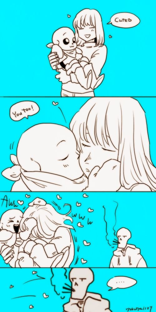 Sans x Frisk<< *hissing in the back about two things* ITS CHARA NOT FRISK ITS UNDERSWAP AND WHO THE HECK DID THIS IM READY FOR MURDER