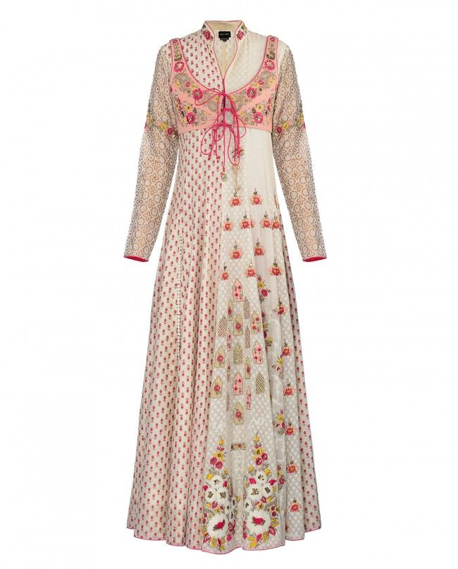 ANJU MODI Embroidered and Printed Ivory Suit
