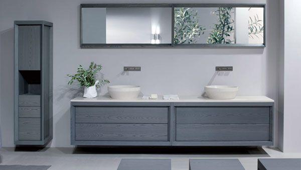 Dogi bathroom by GD Cucine - Baltic grey ash-wood vanity. Honed Biancone stone countertop and washbasin.Bathroom Design, Wood Bathroom, Bathroom Vanities, Bathroom Collection, Bathroom Renovation, Bathroom Sinks, Dogies Bathroom, Bathroom Cabinets, Grey Bathroom
