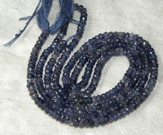 3.5-4mm faceted rondelles, Blue Iolite, 13 inches, 104 kr
