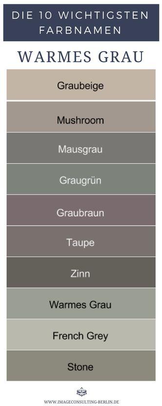 Warme Grautöne sind Graubeige, Mushroom, Mausgrau, Graugrün, Graubraun, Taupe,…