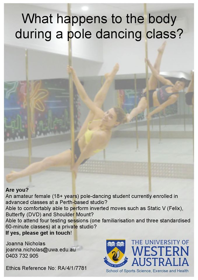 Want to know how many calories you burn during pole dancing??? Research project at the University of Western Australia (UWA) with pole dancers fitted with K5 wearable metabolic equipment for the measurement of oxygen consumption and other parameters.