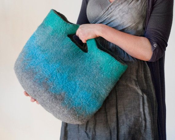 MEDIUM SIZED Teal Gray Sturdy Everyday Art Bag / Carryall / Tote / Basket / Shopping / Market / Picnic / Hand felted wool / Wearable Art