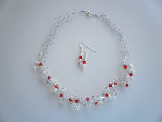 Clear Glass and Red Crystal Necklace & Earrings by JoTheGreek on Etsy.