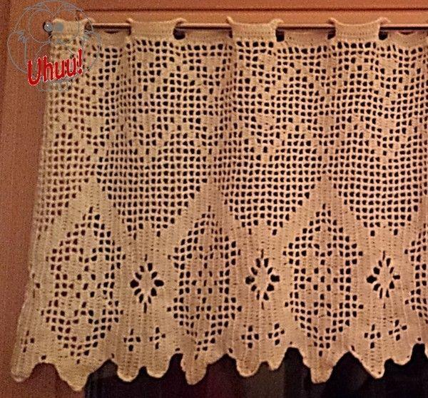 Gardine Geometrisch 1 (Vorhang), Filet häkeln, Anleitung von Uhuu!
