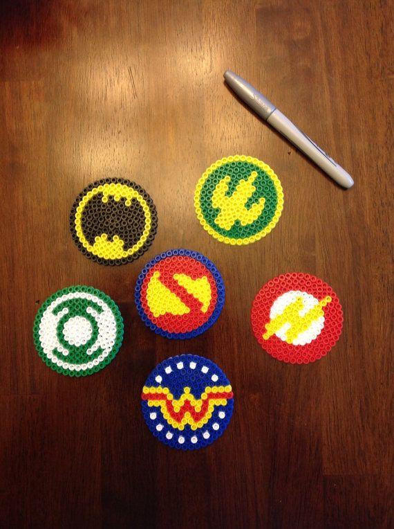 DC comics justice league perler bead coasters/ornaments/medallions Batman, superman, aqua man, Wonder Woman, green lantern, flash