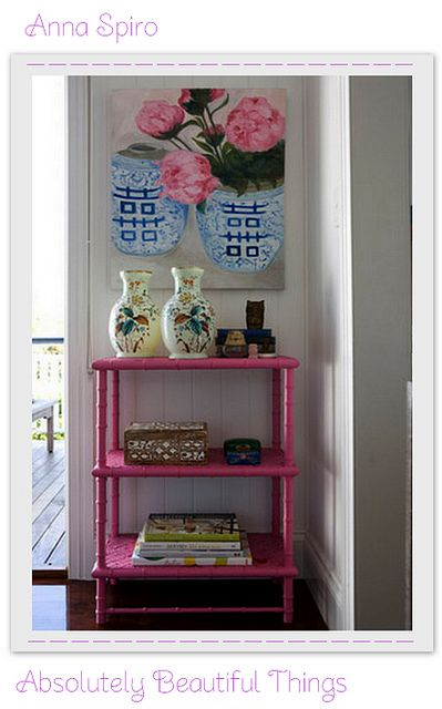 I like using the bookshelf to make the pink in the painting pop