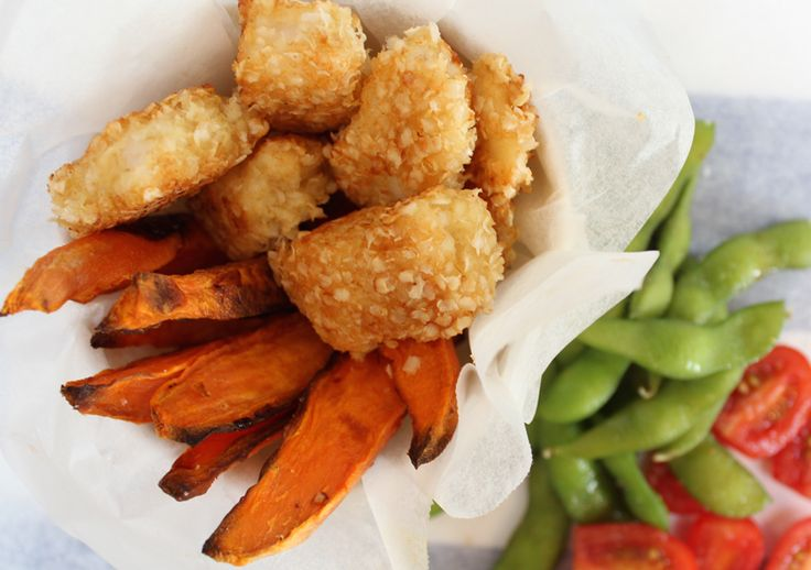 Crunchy Quinoa Fish and Chips.  A quick, easy and healthy kids meal that is sure to please.