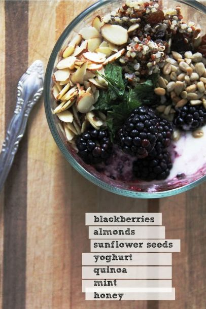 Quinoa Breakfast Bowl- I would replace the Yogurt with Almond Milk for a Vegan-Freindly version.