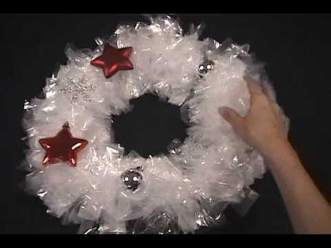 DIY Christmas wreath tutorial   Make it with sandwich bags for $3 - YouTube