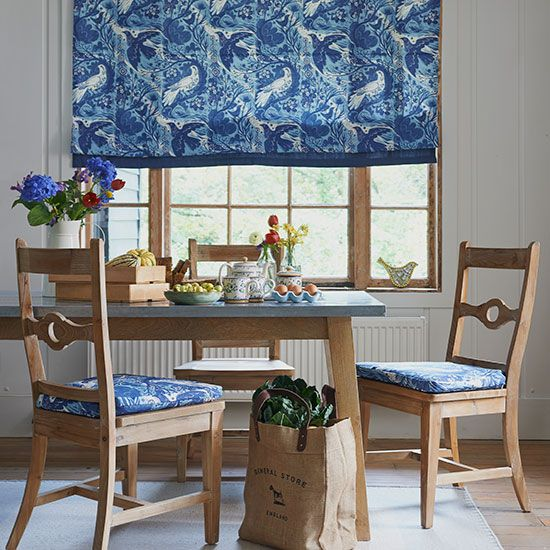 dining room with blue patterned blind - Country Dining Room Design