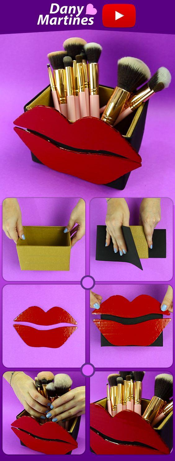 Faça você mesmo porta pinceis com formato de boca, diy, do it yourself, porta treco