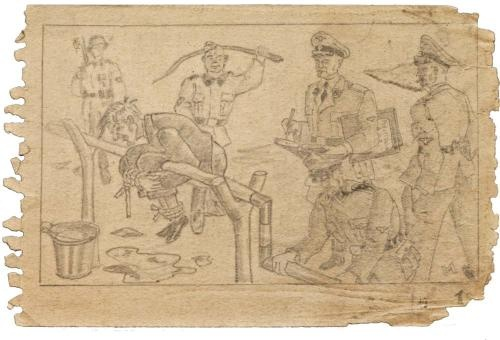 """Boger Swing, a torture method used by the LagerGestapo in Auschwitz-Birkenau.  Wilhelm Boger, a Lagergestapo Lieutenant, invented this horrendous device.  This image is from the so called """"Sketchbook from Auschwitz"""" drawn by an anonymous prisoner and recently discovered by the Ausuchwitz museum."""