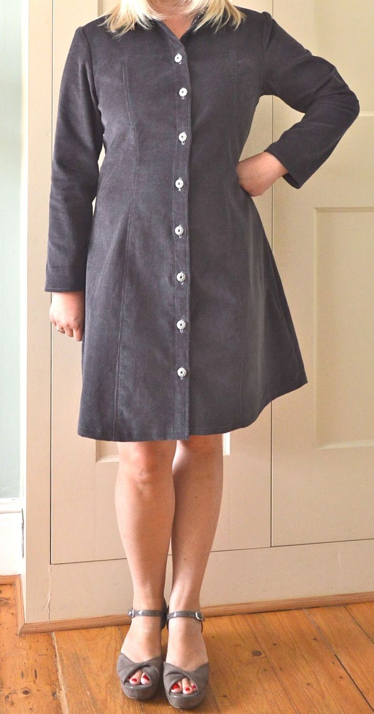 Jane's corduroy Rosa dress - sewing pattern by Tilly and the Buttons