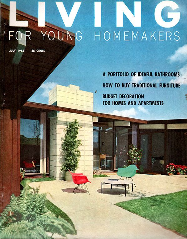 a classic mid century 1955 living for young homemakers magazine cover featuring two
