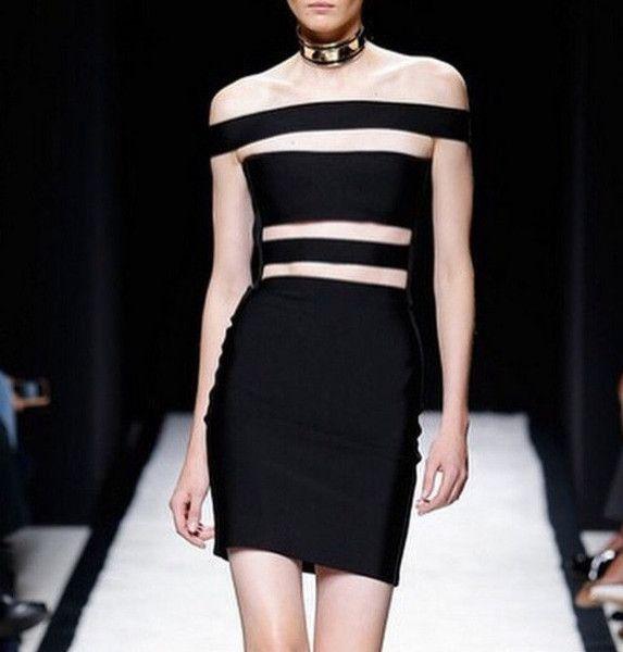 DEIVE TEGER Hilary Rhoda pencil slash neck black 100% sexy bandage Club dress Party solid Dresses