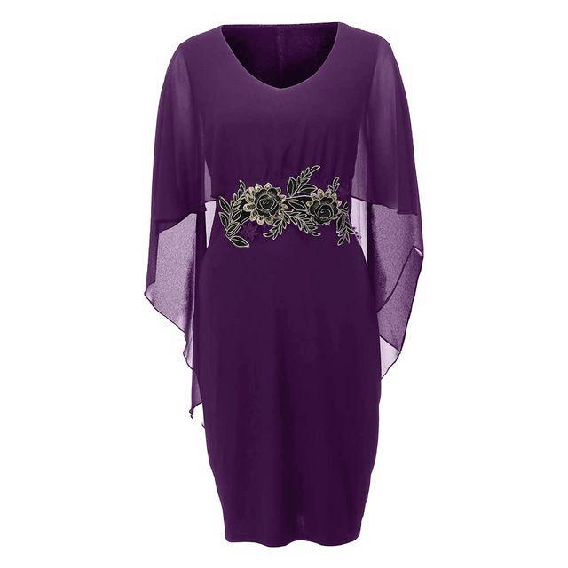 Fashion 2019 women casual chiffon plus size solid v-neck applique loose dress ladies summer elegant party night sundress z0506 2