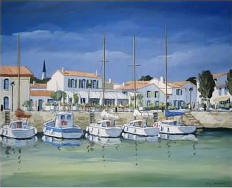 This beautiful scene is of the village of Ars-en-Re'..on the Atlantic Ocean island Ile de Re'. Connected to the west coast of France by the second longest bridge in the the country..the artist is Phillipe Deschamps. I had the pleasure of visiting his atelier and meeting him several years ago.