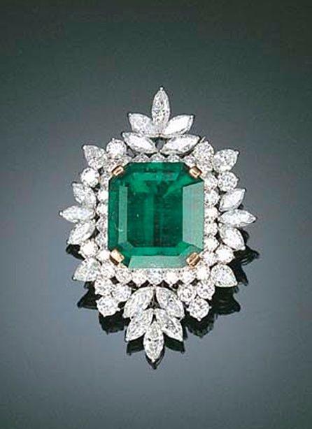 Emerald, diamonds