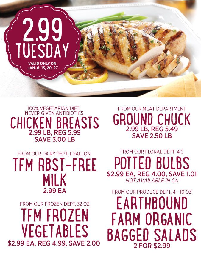 The Fresh Market: $2.99 Tuesday deals on chicken breast, ground chuck, milk and more