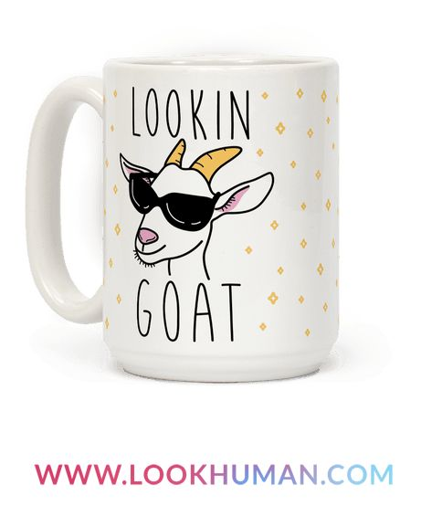 """You're looking more than good, you're looking goat. Show the world your confidence in goat style featuring the text """"Looking Goat"""" with this goat pun design. Perfect for a goat lover, animal lover, animal puns, goat puns, and goat gifts!"""