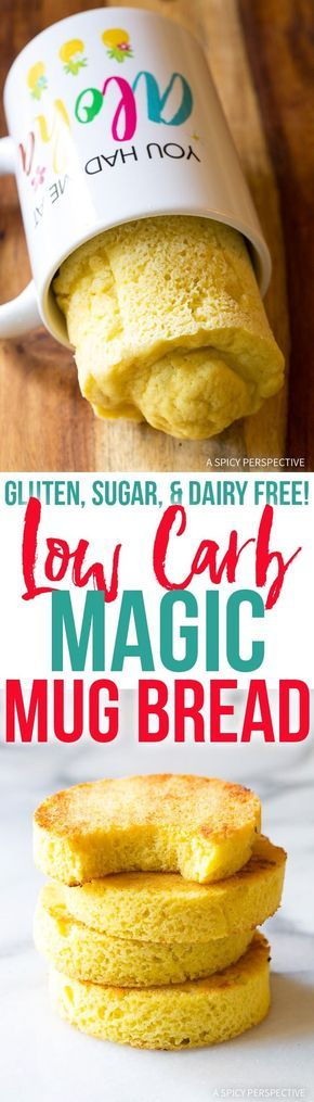 Low Carb Magic Mug Bread Recipe - Made in less than 5 minutes and magically Gluten Free, Grain Free, Sugar Free, Dairy Free, Paleo, and Ketogenic friendly! via @spicyperspectiv