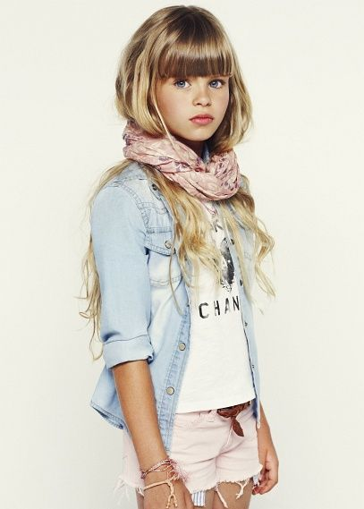 Summer style, denim shirt, scarf, light pink shorts and a white T-shirt, pre-teen fashion.