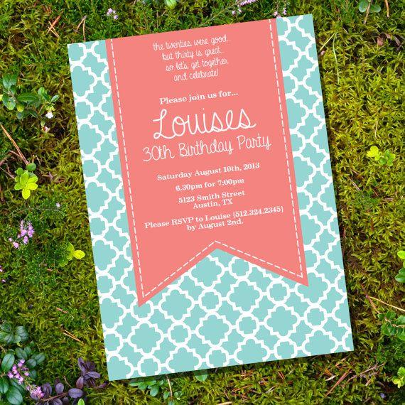Coral & Tiffany Blue Birthday Invitation - 16th 30th 40th 50th 60th birthday invitation - Instant Download and Edit with Adobe Reader