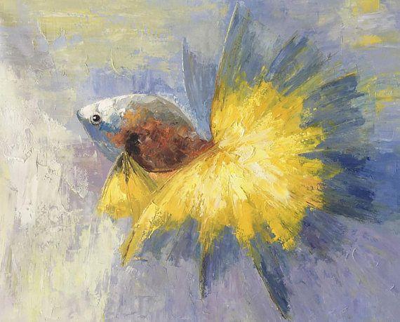 Pittura astratta pittura oro pesce di tela pittura