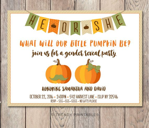 Gender Reveal Invitation, Gender Reveal Party, Pumpkin Gender Reveal Invitation, Fall Gender Reveal, Fall Invitations, Pumpkin Invites [513]