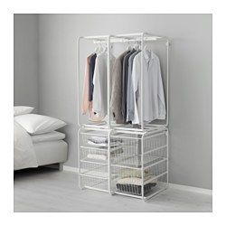 The parts in the ALGOT series can be combined in many different ways and easily adapted to your needs and space. When you complete your ALGOT frame with baskets from the same series you have a smart storage solution that fits anywhere in your home. Can also be used in bathrooms and other damp indoor areas. Also stands steady on an uneven floor since the feet can be adjusted. The basket glides smoothly and has a pull-out stop to keep it in place.