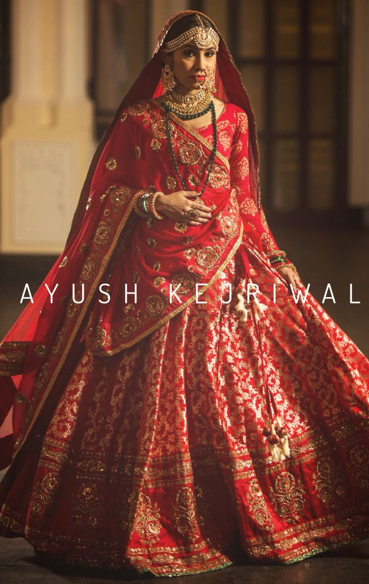 Red and gold vintage Benarsi Bridal Lengha by Ayush Kejriwal For purchases email…