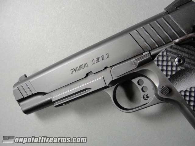 Para Ordnance Black Ops 1911 in 45acp with two (2) 8 round magazines, steel frame with accessory rail, factory night sights, and G10 grips.
