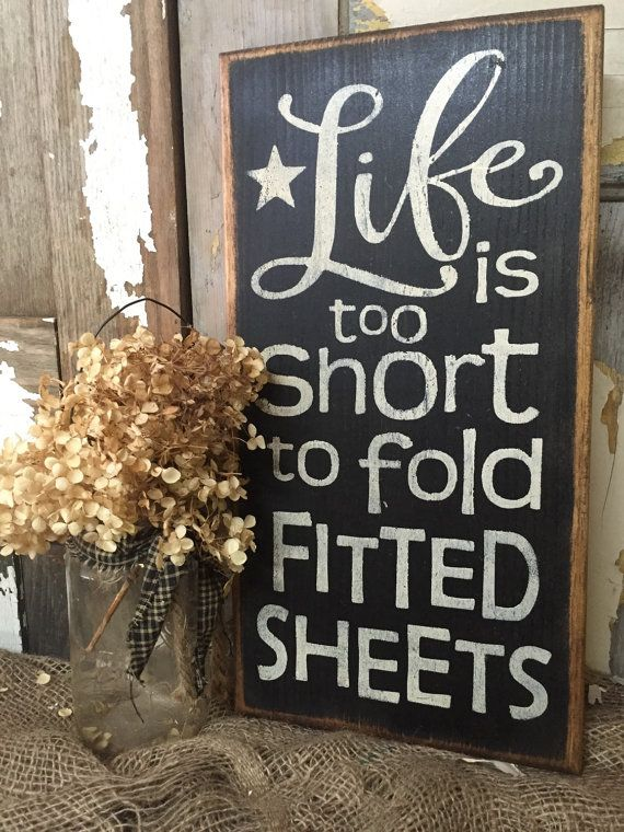 humorous rustic wood laundry sign #laundrydecor life is too short to fold fitted sheets #laundryroom #etsyad